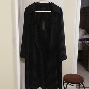 NWT Rachel Zoe Navy Striped Long Blazer Dress Coat